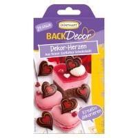 Coeurs imprimés en chocolat noir 1X 15 Blister