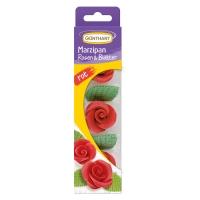 Roses rouges en pâte d'amandes avec feuilles 1x16Blister