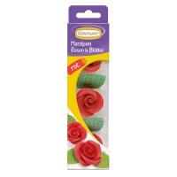16 pcs Roses rouges en pâte d'amandes avec feuilles