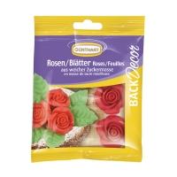 12 pcs Roses rouges avec feuilles