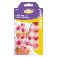 15 pcs Coeurs roses imprimés, sucre, ass.