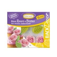 10 pcs Roses roses et feuilles, Candymel