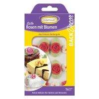 15 pcs Roses avec fleurs en sucre, rouges