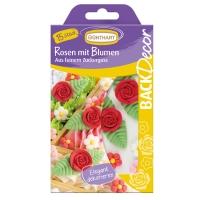 15 pcs Ass. de roses et fleurs en sucre