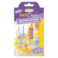 Bougies et bobèches multicolores, sucre, ass. 1 X15 Blister