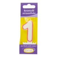 15 pcs Bougies chiffres n° 1 avec support en plastique