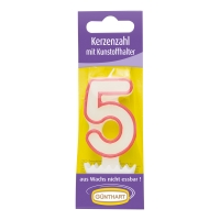 15 pcs Bougies chiffres n° 5 avec support en plastique