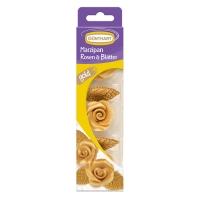 16 Roses or en pâte d'amandes avec feuilles or