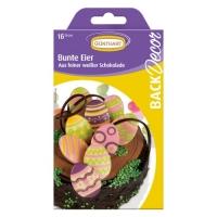 15 Oeufs de Pâques avec motifs, chocolat blanc, ass.