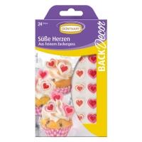 15 Petits coeurs roses et blancs imprimés, sucre, ass.
