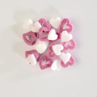 1,3 Kg Décor à parsemer coeurs en sucre blancs/roses