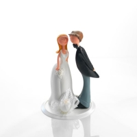 1 pcs Couple de mariés  en résine avec décoration florale