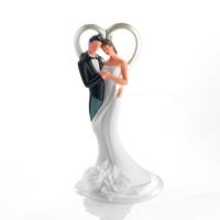 1 pcs Couple de mariés en porcelaine avec coeur et fleur