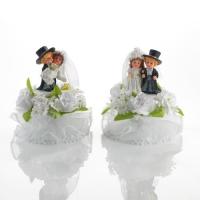 2 Couples de mariés en plastique, petits modèles, base à ouvrir contenant 2 Bébés