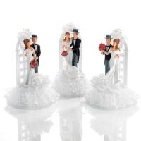 3 Couples de mariés en résine dans un arceau