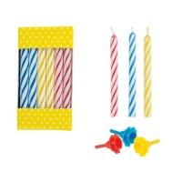 144 pcs Bougies couleur avec bobèche en plastique