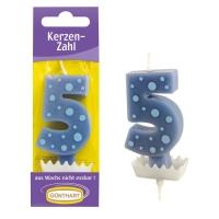 """Bougies-chiffre bleu """"5"""""""