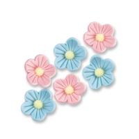 96 pcs Petites fleurs, roses et bleues