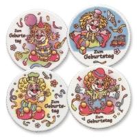 12 pcs Plaquettes  Joyeux Anniversaire  Clowns