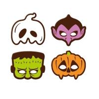 Plaquettes masques d'Halloween, chocolat noir, ass.
