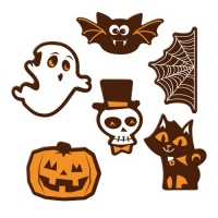 Plaquettes Halloween, chocolat noir, ass. 1 X72 pcs