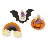 Ass. licorne d'Halloween, sucre 1 X48 pcs -25-57mm x 28-32mmx7-10mm