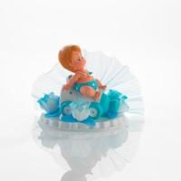 6 pcs Embases baptême avec bébé sur biberon bleu