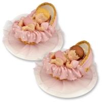 2 pcs Bébé dans berceau sur embase, couleur rose