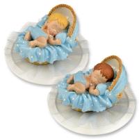2 pcs Bébé dans berceau sur embase, couleur bleue