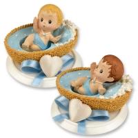 Bébé dans berceau sur embase, couleur bleue (2X2 Modèles Assortis) 1 X4 pcs