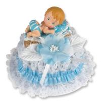 Bébé Bleu dans un couffin sur embase  1 X2 pcs - 130 x 100 mm