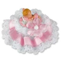 Bébé Rose dans un couffin sur embase  orné de Tulle, Fleur et Bord Satin 1 X2 pcs