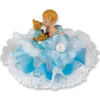 Bébé Bleu Joueur dans son couffin sur embase  orné de Tulle, Fleur et Bord Satin 1 X2 pcs