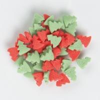 Décor à parsemer, sapins rouges et verts, en sucre
