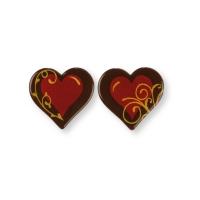 Cœurs en chocolat noir, rouge