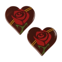 Cœurs en chocolat noir avec rose rouge