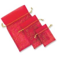 Sachets vides, rouges en organza, par 3 x 20 modèles