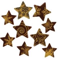 136 pcs Étoiles dorées en chocolat noir petits et grands