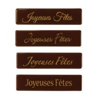 128 pcs Plaquettes en chocolat noir,  Joyeuses Fêtes