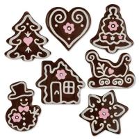 112 pcs Décors de Noël en chocolat noir, assortis