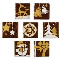 162 pcs Ass. de décors de Noël or/blanc en chocolat noir