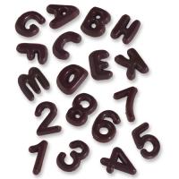 410 pcs Lettres et chiffres, chocolat noir, assortis