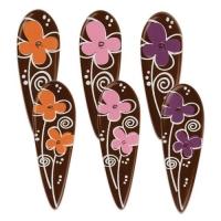90 pcs Piquets fleurs, chocolat noir