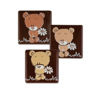 105 pcs Carrés ours, chocolat noir, ass.