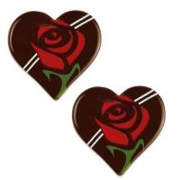160 pcs Cœurs en chocolat noir avec rose rouge