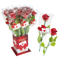 Roses rouges Elégance en pâte d'amandes  1 X20 pcs - ~50 x 420 mm