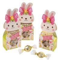 Coffret-lapin décoré garni de pralines en chocolat blanc (fourrés noisettes)