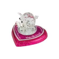 16 pcs Cochons en verre cristallisé sur cœur praliné
