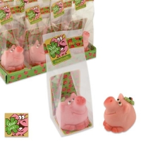 Cochon porte-bonheur en pâte d'am. dans sachet cellophane et carton