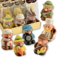 Ass. figurines métiers en pâte d'amandes dans sachet cellophane et carton